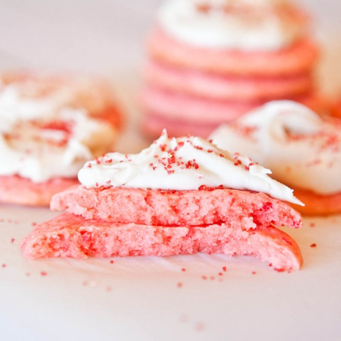 Strawberry Cake Mix Cookies With Vanilla Cream Cheese Frosting