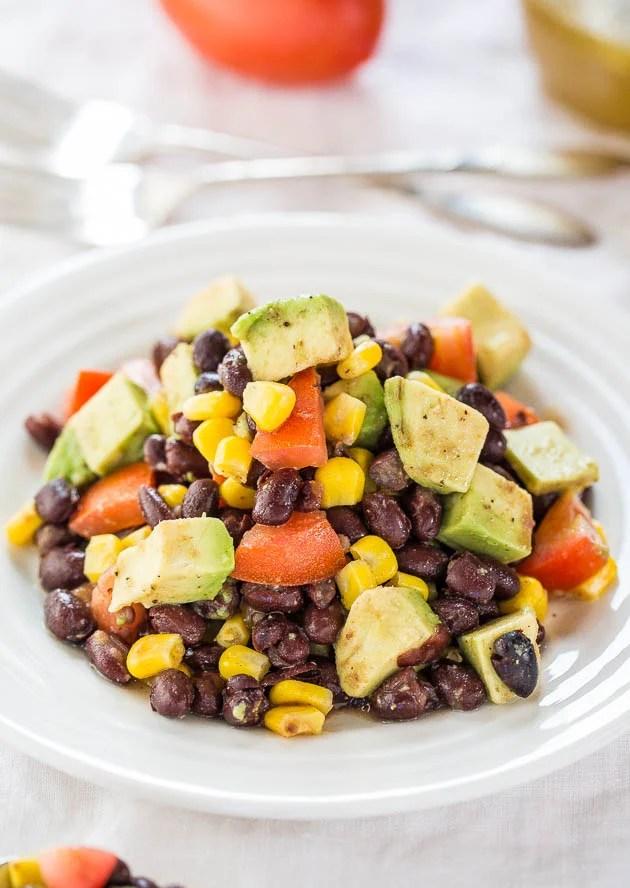 Black Bean Corn Avocado Salad in white bowl