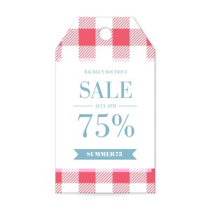 Gingham tablecloth print banner tag templates