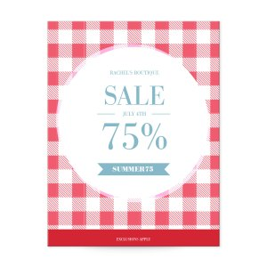 Gingham tablecloth print postcard templates