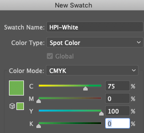 New Swatch in Illustrator showing White Ink spot color