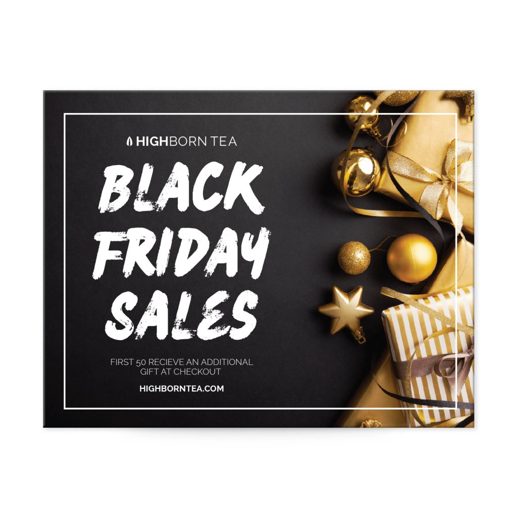 "Avery Black with Gold Gifts and Decorations 4-1/4"" x 5-1/2"" Postcard Template for Black Friday"
