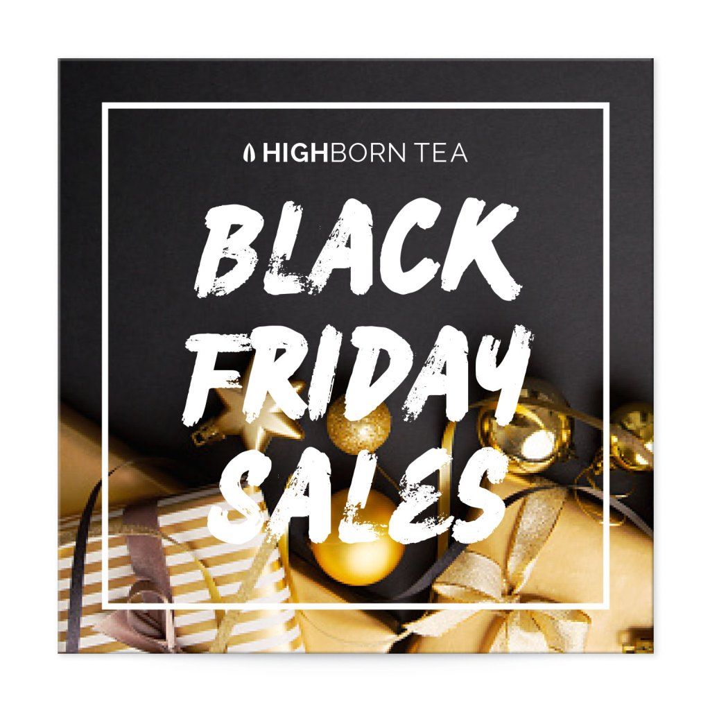 "Avery Black with Gold Gifts and Decorations 2"" Square Label Black Friday Sales Template"