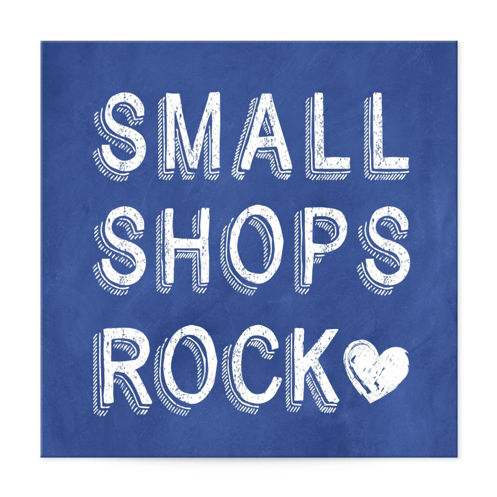 "Avery Blue and White Heart Customizable 2"" Square Label template for Small Business Saturday"