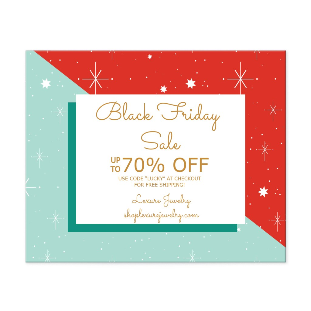 "Avery Red and Gold Retro 4-1/4"" x 5-1/2"" Postcard Template for Black Friday"
