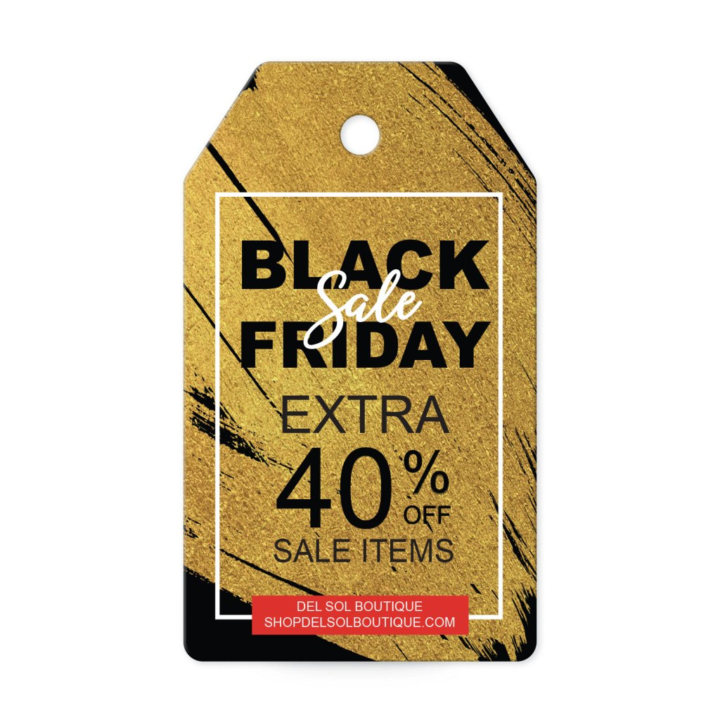 Avery Black with Gold Splash Customizable Banner Tag Template for Black Friday