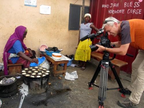 carl filming pounded rice pancake