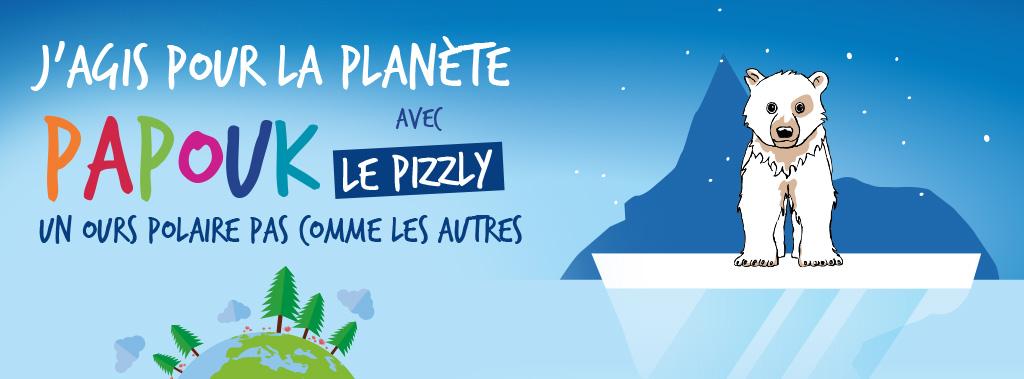 illustration du spectacle pour enfants papouk représentant le pizzly sur un iceberg, sur un fond bleu