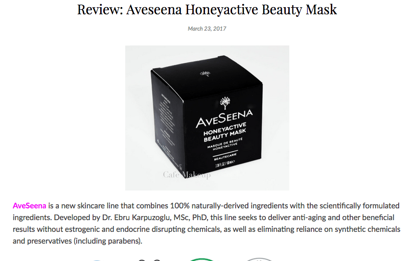 CafeMakeup.com Review: Aveseena Honeyactive Beauty Mask