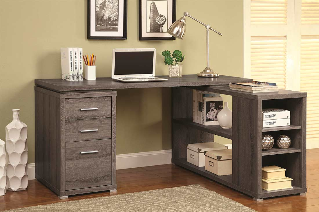 Weathered Grey LShape Desk with Silver Hardware CO 518