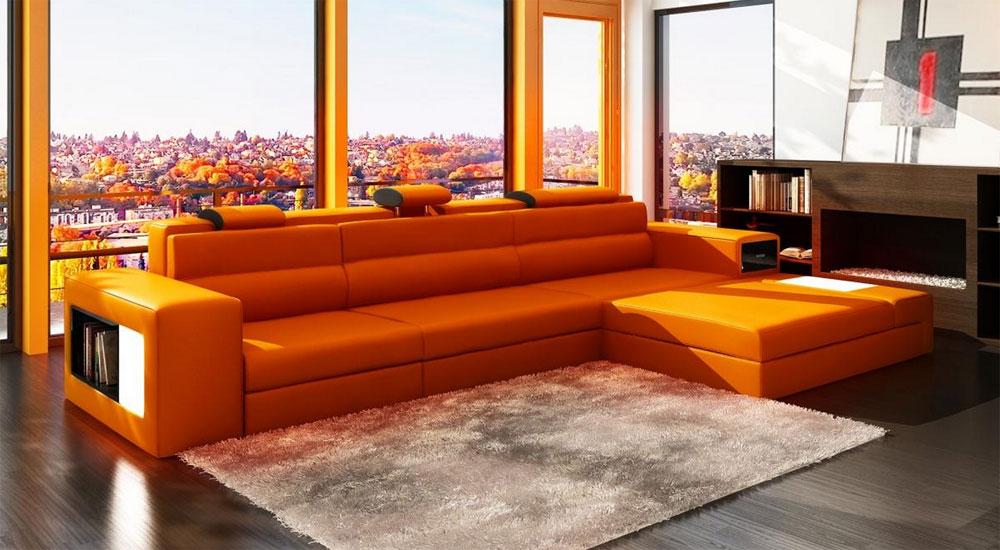 Orange Leather Sectional Polaris Mini  Leather Sectionals