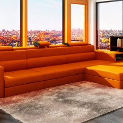 Sectional Sofa Beds Toronto Moroni Luton Orange Leather Polaris Mini | Sectionals