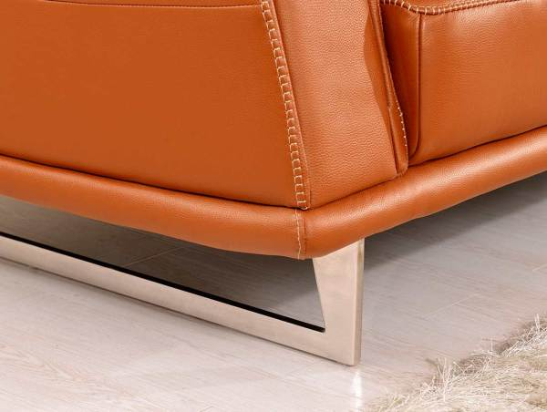 Orange Leather Modern Sectional Sofa