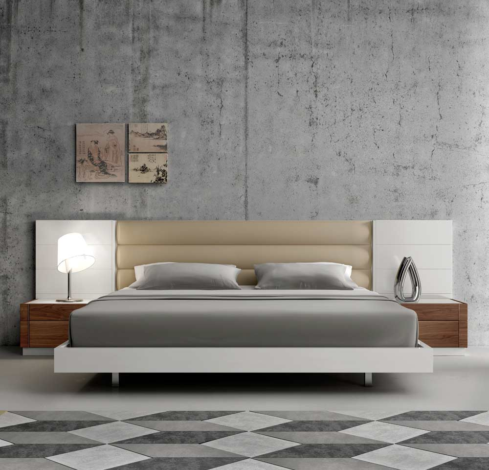 Contemporary White Lacquer Bed SJ871  Contemporary Bedroom