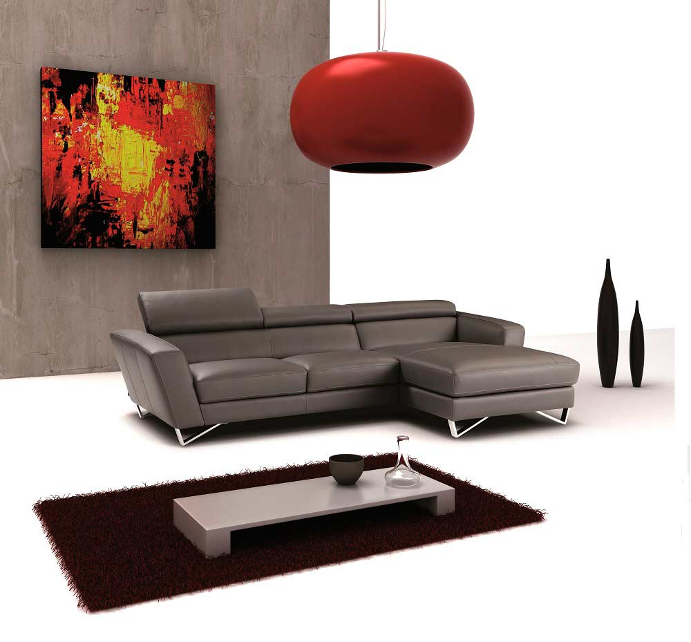 Mini Sparta Grey Leather Sectional Sofa  Leather Sectionals