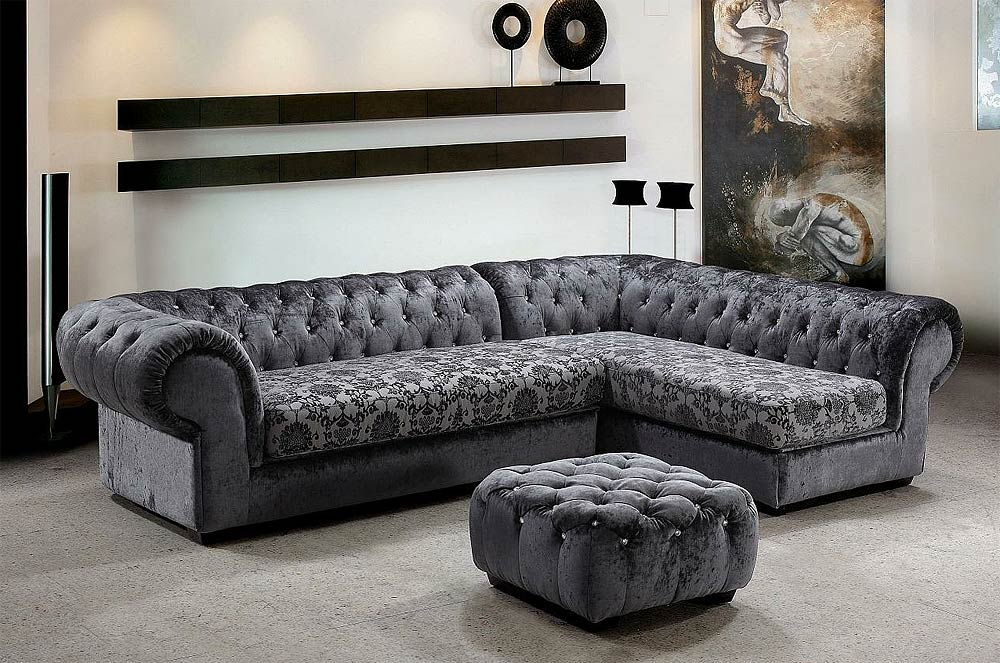 Grey Dream Mini Micro Fiber Sectional Sofa with Ottoman  Fabric Sofas