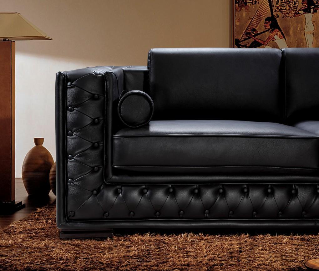 Black Leather Sofa Set HE707  Leather Sofas
