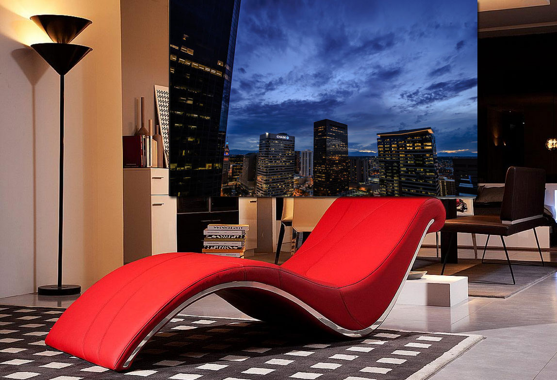 VGWave Red Leatherette Lounge Chair  Accent Seating