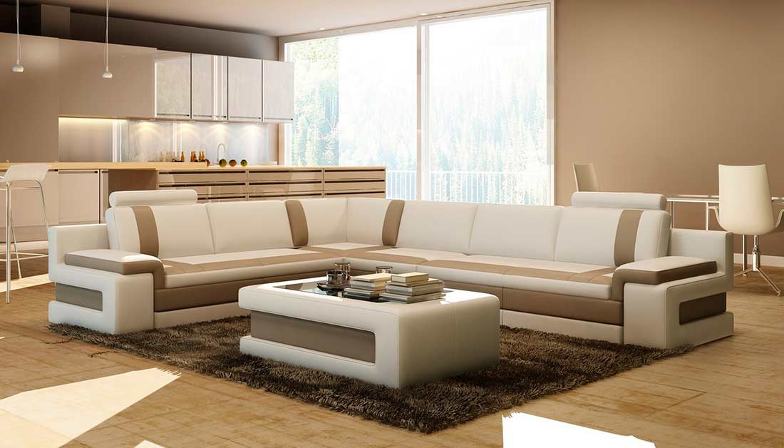 modern white italian leather sectional sofa benchcraft sofas with brown vg083a   ...