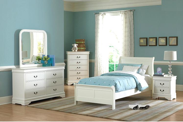 White Twin Bedroom set HE539  Kids Bedroom