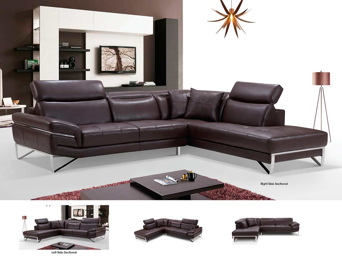 modern brown leather sofa chenille sectional ef194 sectionals