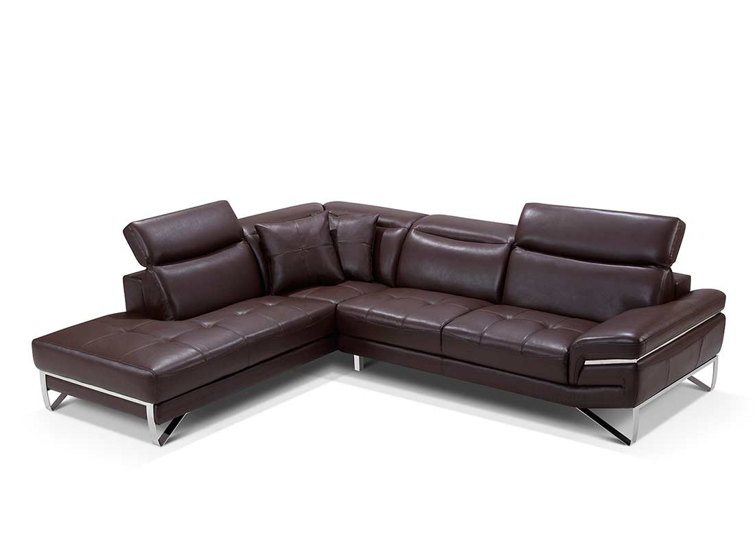 modern brown leather sofa easy pallet table sectional ef194 sectionals