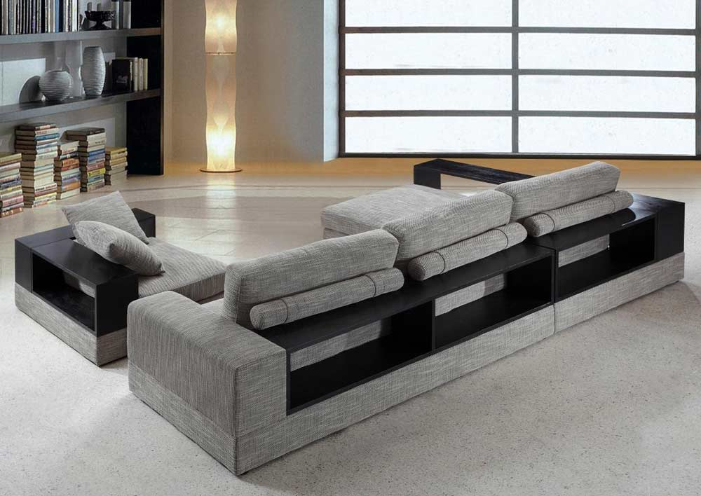 dark grey sectional sofa with chaise leather modern fabric wood shelves vg antonio ...