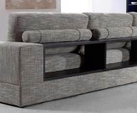 Grey Fabric Sectional with wood shelves VG Antonio ...