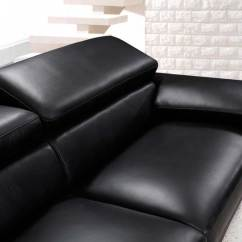 Modern Black Leather Sofa Dining Table Height Set Vg724 Sofas