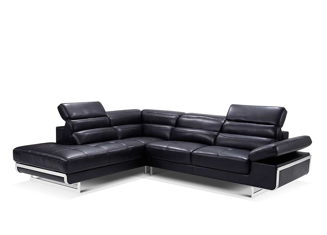 leather modern sofa sectional curved contemporary black ef347 sectionals