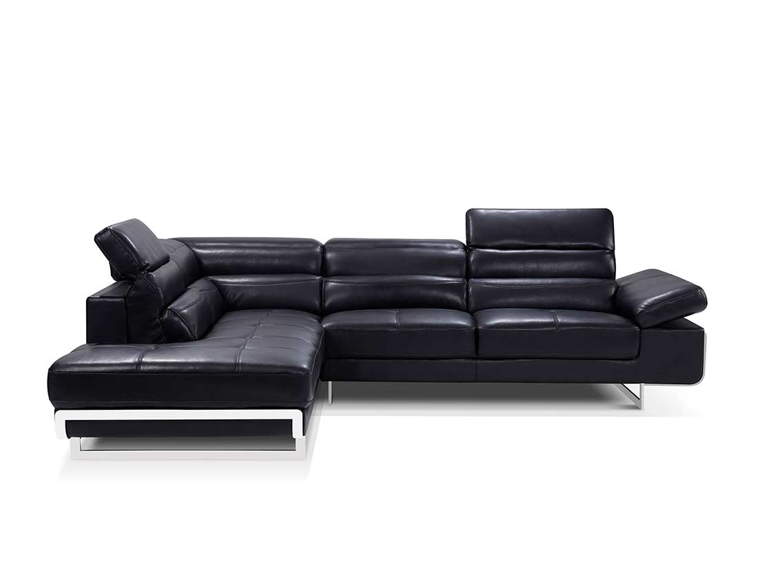 modern black leather sofa leon s canada beds sectional ef347 sectionals