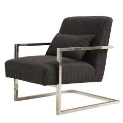 Modern Accent Chairs Swivel Club Chair With Ottoman Charcoal Fabric Ar461 Seating