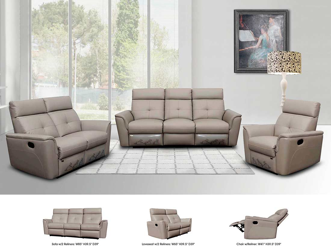 gray leather sofa recliner table bookshelf reclining grey ef501 sofas