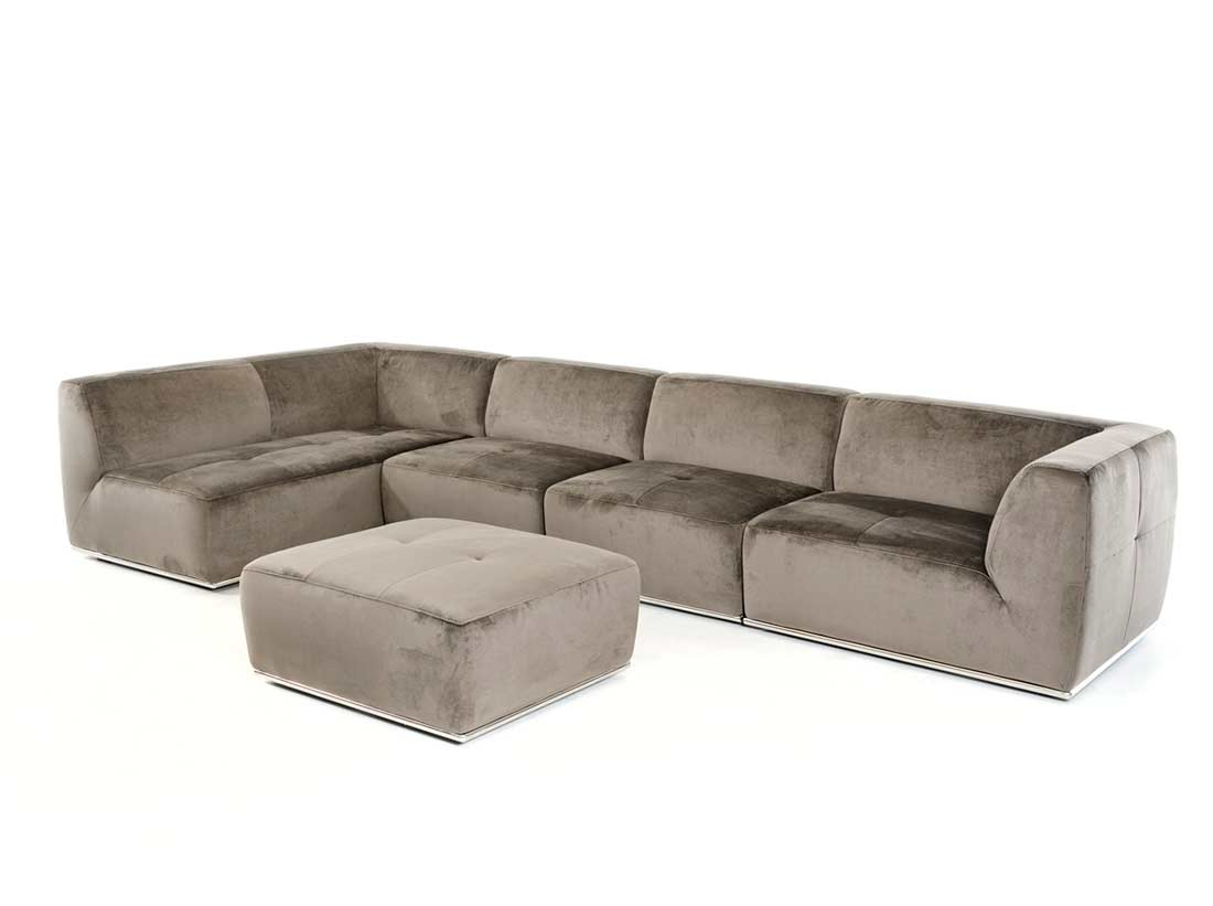 Contemporary Grey Fabric Sectional sofa VG389  Fabric