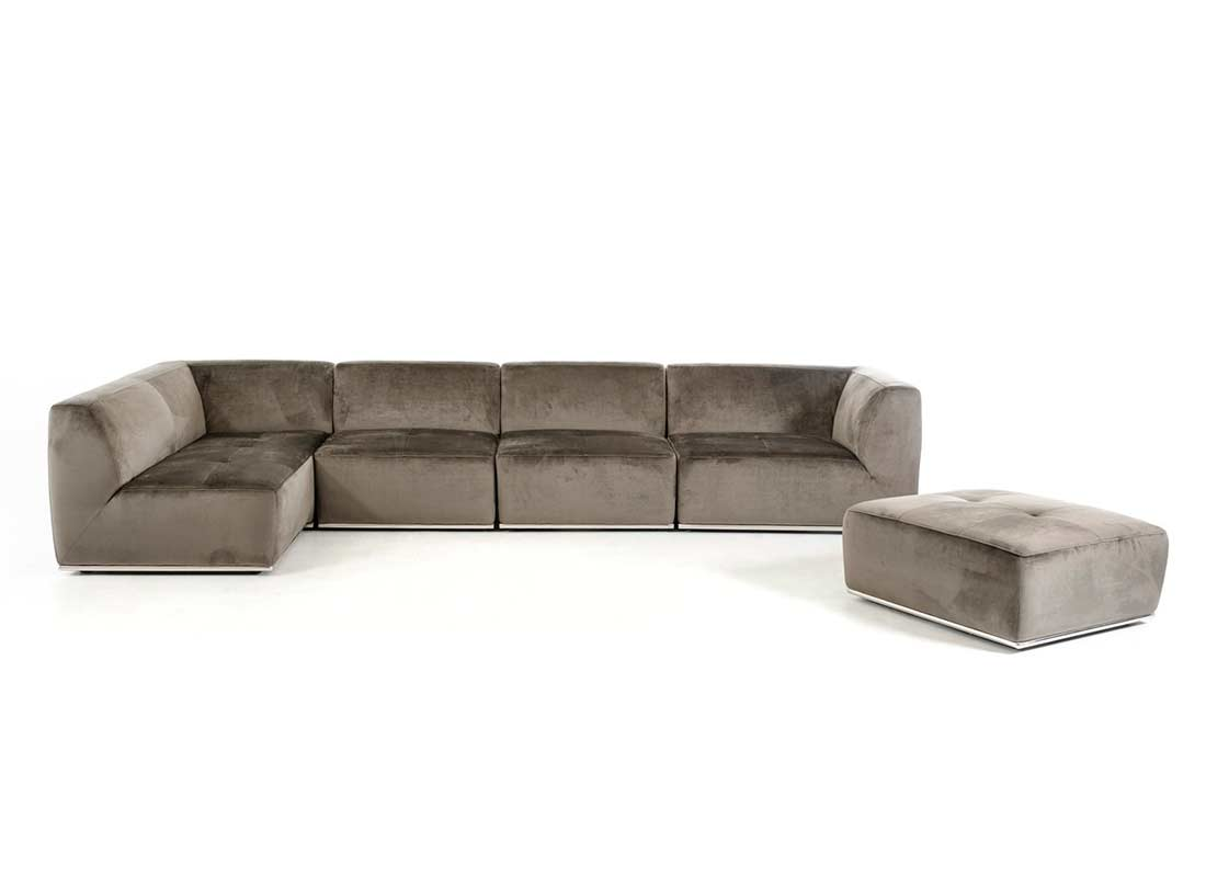 contemporary gray fabric sofa leather bed sectional grey vg389