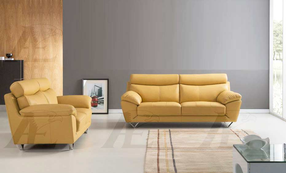 Modern Sofa Collection in Yellow Top Grain Leather