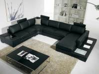 T35 Black Leather Sectional Sofa