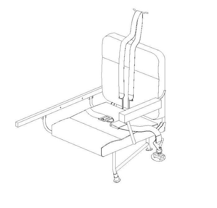 King Air Replacement Aft Jump Seat, RH Single 32-0155