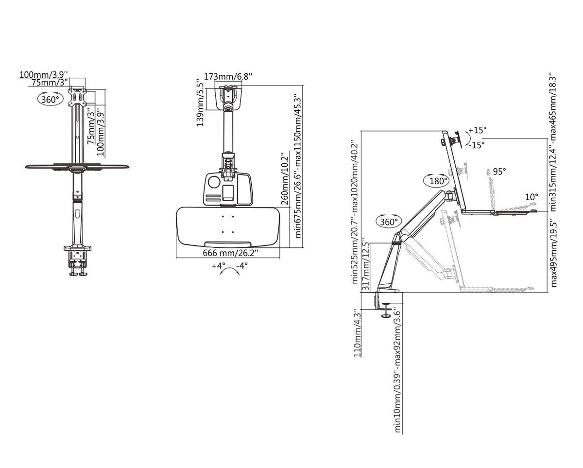 Boost Industries DM-1332T Single Display Sit-Stand