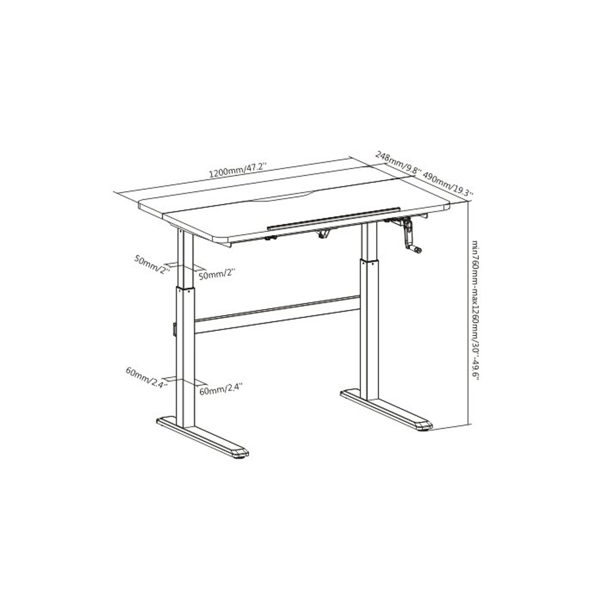 Boost Industries MC47T-WH Drafting/Craft Height Adjustable