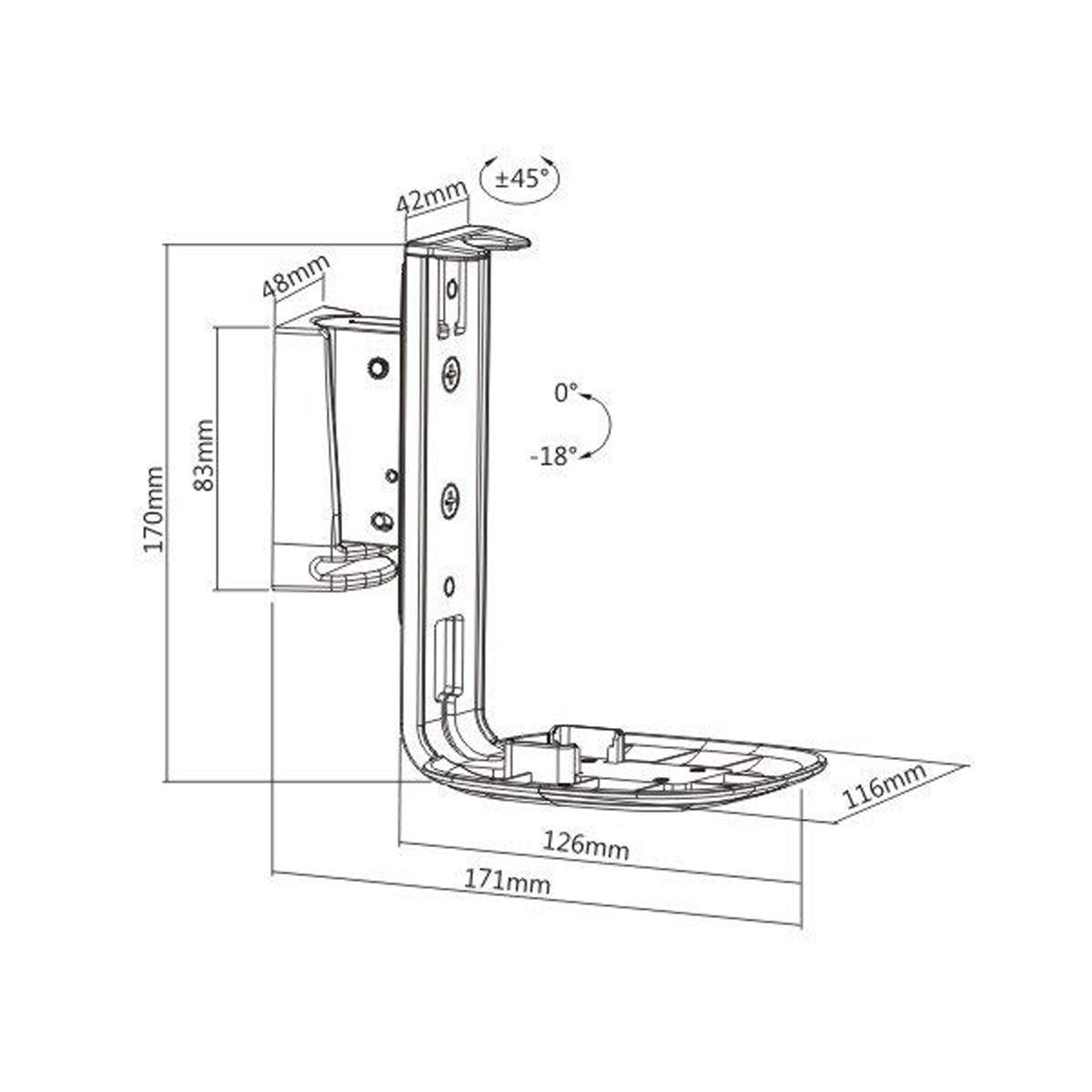 Boost Industries S1SB-WH Speaker Wall Bracket/Mount for