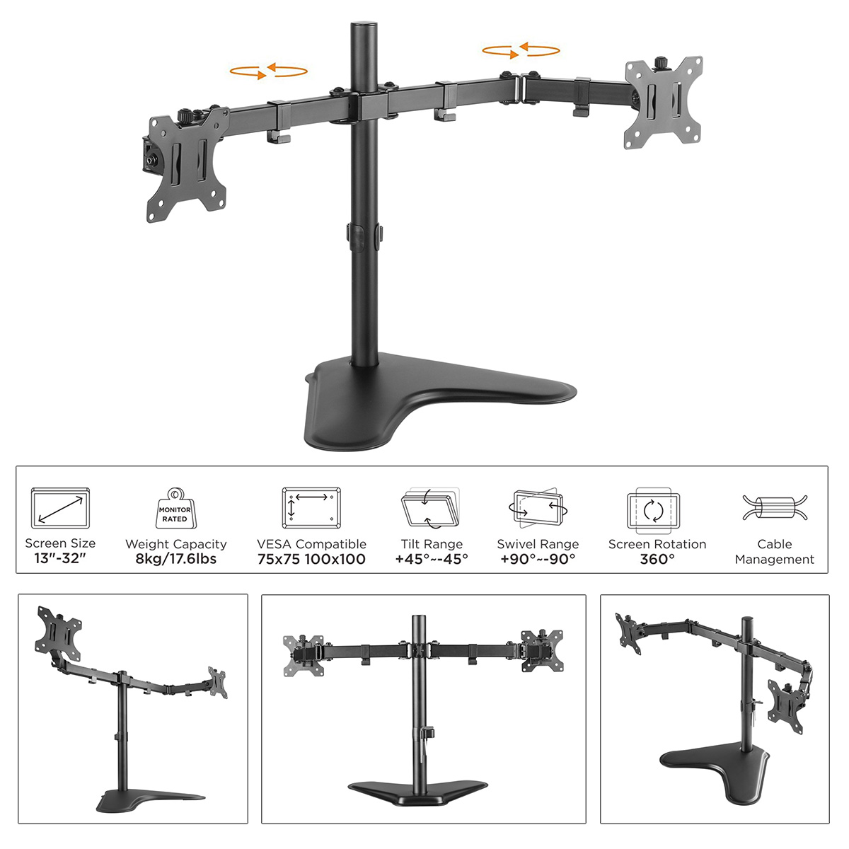Boost Industries TM-EX20 Dual Arm Monitor Freestanding