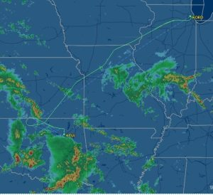 Heavy storms over OK required a diversion to Tulsa for more fuel to bypass them. Source: flightaware.com