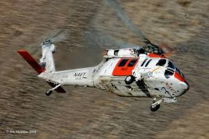 VX-31's Rescue copter comes through the canyon, training for any situation