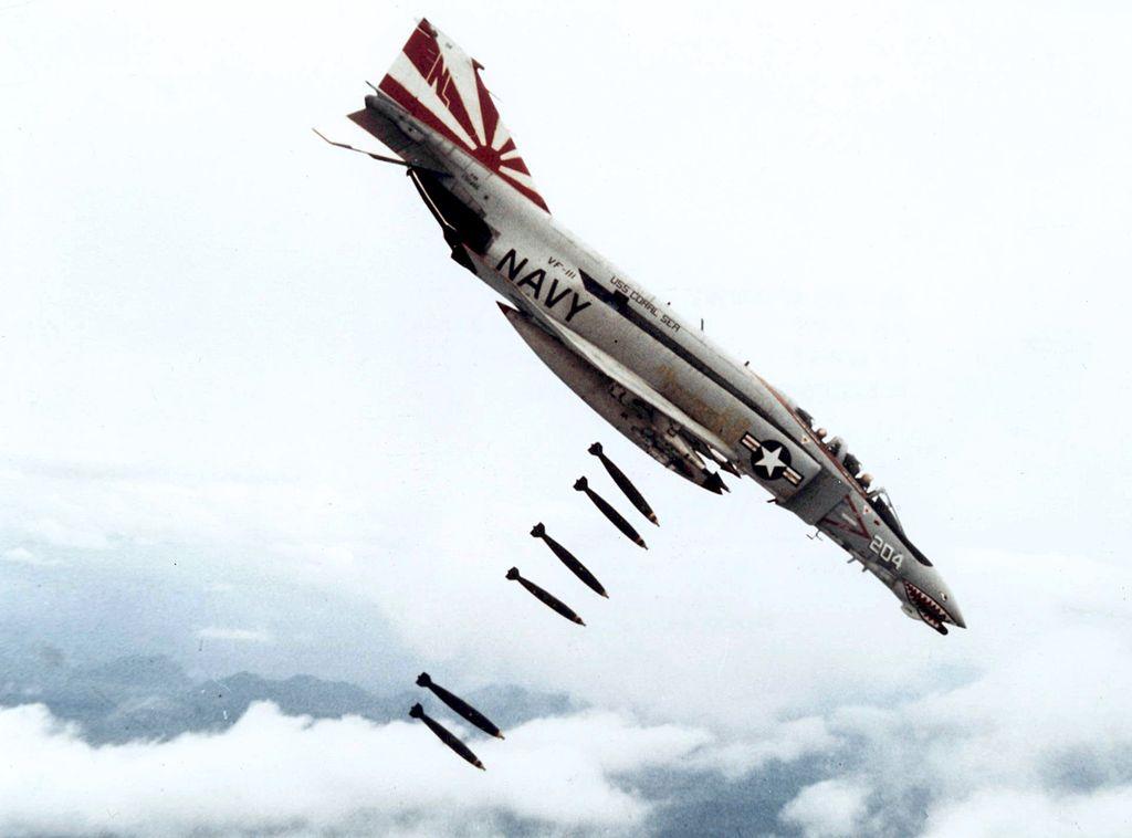 An F-4 Phantom on a bombing run in Vietnam. Credit: U.S. Navy National Museum of Naval Aviation.
