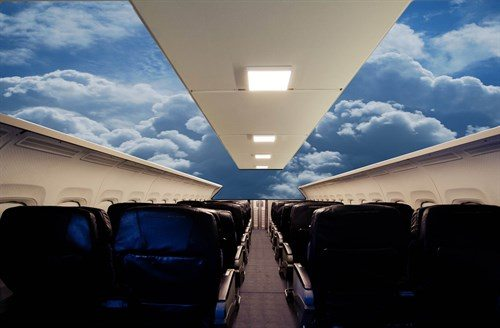 A view inside the MD-80 that's now a theater. Credit: Tulsa Air and Space Museum