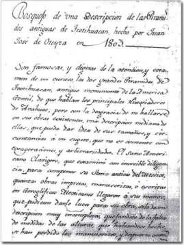 Aus dem Humboldt-Nachlaß: Juan José de Oteyzas Beschreibung der Pyramiden von Teotihuacán (Quelle: HiN)