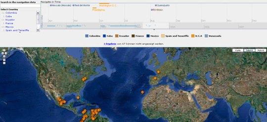 Time Line Navigation (Quelle: Humboldt Digital Library)