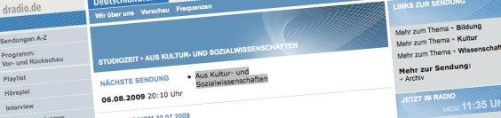 DLF Studiozeit: Aus Kultur- und Sozialwissenschaften (Screenshot dlf.de)