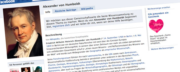 Alexander von Humboldt auf Facebook (Screenshot)